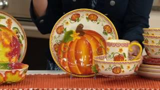 Temp-tations Pumpkin Or Harvest 16pc Dinnerware Set On QVC