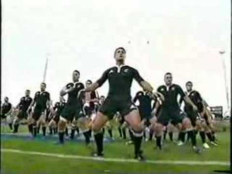 NZ All-Blacks do their Haka before the game with Tonga