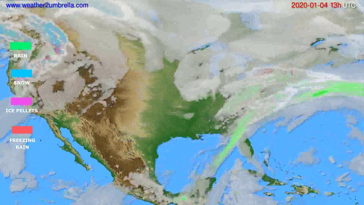 Precipitation forecast USA & Canada // modelrun: 12h UTC 2020-01-03