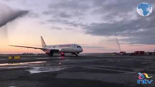 KQ plane touches down in New York - VIDEO