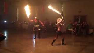 Fire Swords At Medieval Wedding