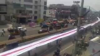 1096 Feet Massive Flag At Vizag Gazuwaka  3 Years Of Janasena  Pawan Kalyan