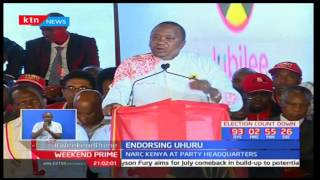 President Uhuru Kenyatta formally endorsed as Jubilee Party flag bearer at Bomas of Kenya