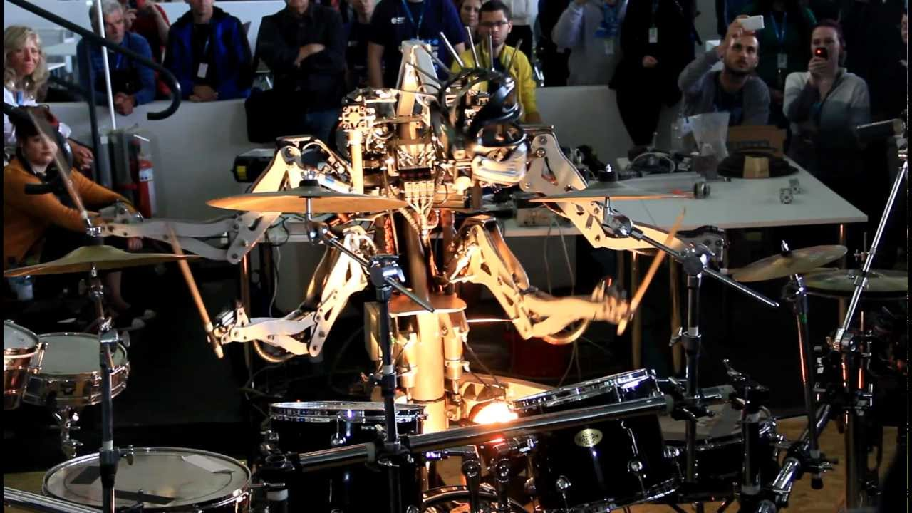 Spike-Headed Robot Drummer Cranks Out The Ramones With All Four Of Its Arms