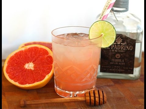 Video Cocktail Recipe: Ruby Red Grapefruit & Honey Paloma Cocktail by CookingForBimbos.com