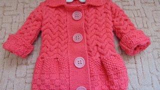 Вязание спицами Пальто на девочку часть 1.