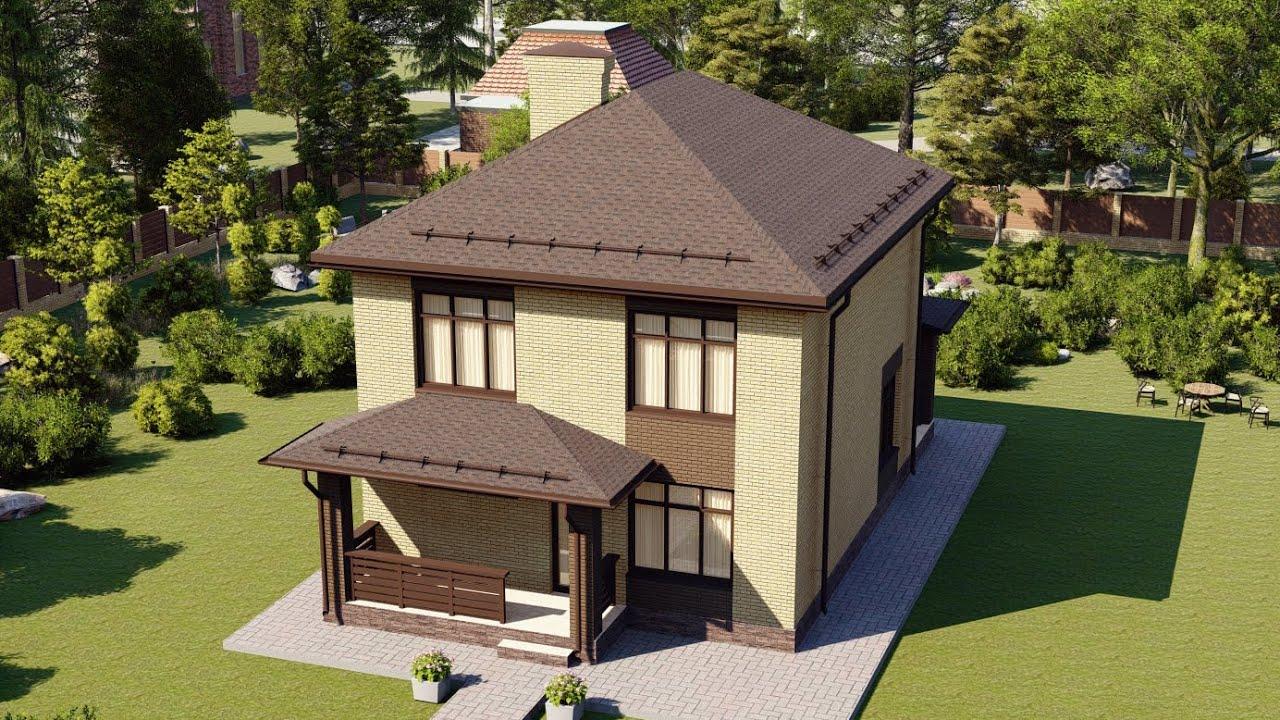 Проект простого двухэтажного дома из газобетона 8 на 12 128 м2