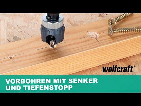 wolfcraft Vorbohrer mit Senker und Tiefenstopp (Art.-Nr. 2544000)