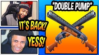 "STREAMERS REACT TO ""DOUBLE PUMP"" *BACK* IN FORTNITE! (OVERPOWERED) Fortnite FUNNY & EPIC Moments"