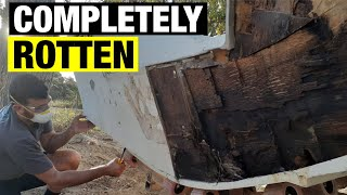 ROTTEN TRANSOM REPLACEMENT | REMOVING THE FIBREGLASS AND OLD CORE | FULL BOAT RESTORATION - PART 2