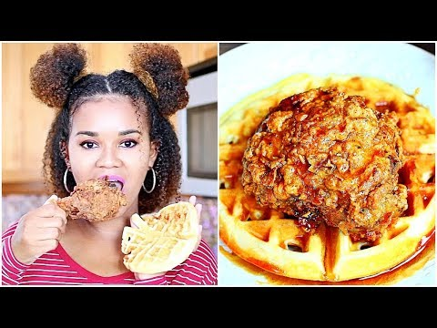 Fried Chicken and Waffles Recipe + Eat With Me (Mukbang)