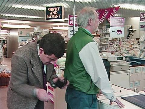 Humor video E-cards, Mr Bean is excited to have a credit card. When he goes to pay in a department funny humor