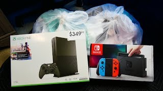 NINTEDO SWITCH AND XBOX ONE!!! Gamestop Dumpster Dive Night #751
