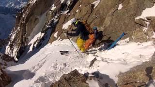 Skiing a Steep Line in Chamonix