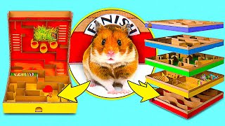 2 DIY Hamster Mazes || 5 level Maze And Pringles Can Maze For Active Hamsters