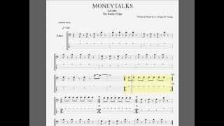 ACDC   Moneytalks bass guitar  tablature
