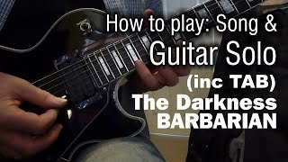 The Darkness - Barbarian Guitar Cover Lesson (inc tapping solo tab)