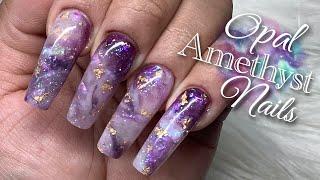 Watch Me Do My Nails | Builder Gel Nails Tutorial | Opal Amethyst Crystal Nail Design