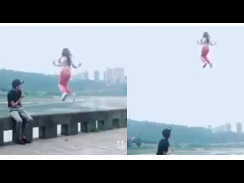 Fly fly fly! Girl flying without wings, see what happens when the guy trying to fly,  Flying girl
