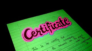 How to Make Certificate page for project file