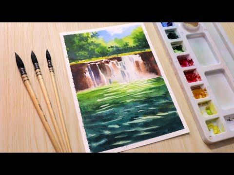 Watercolor painting tutorial beautiful waterfall landscape step by step