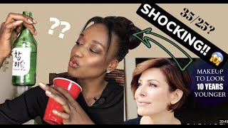 BLACK GIRL TRIES DOMINIQUE SACHSE MAKEUP TIPS TO LOOK 10 YEARS YOUNGER + TRYING KOREAN SOJU DRINK