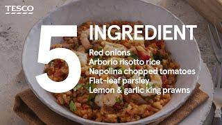5-ingredient tomato baked rice with king prawns