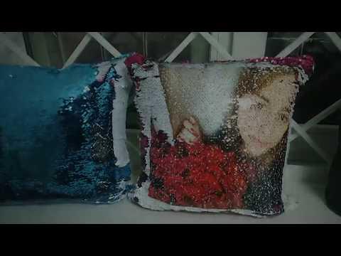 Фото Печать на подушке с паетками (подушка хамелеон)