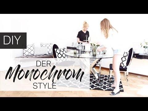 DIY Monochrom Look, Interior Design Makeover Umstyling im Schwarz-Weiß Style mit Pure Velvet