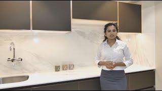 Parallel Kitchen Design By Sunbird Kitchens (Matte Finish Glass Shutters With Golden Frame)