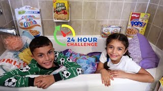 24 HOUR CHALLENGE OVERNIGHT IN OUR BATHROOM!!