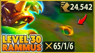 Rammus Q scales with Level... (LVL 30 BREAKS The game 😂😂) - BunnyFuFuu | League of Legends