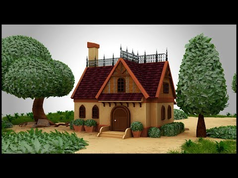 3D Maya Tutorial – Stylized House in Autodesk Maya 2018 (Speed Modeling)