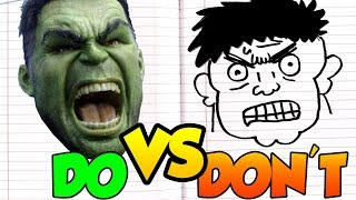 DOs & DON'Ts - Drawing Marvel HULK In 1 Minute CHALLENGE! and Tutorial