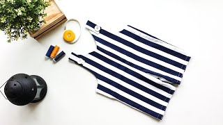 DIY - Learn To Sew Baby Boy Jumpsuit/Romper/Shortalls (tutorial For Beginners)