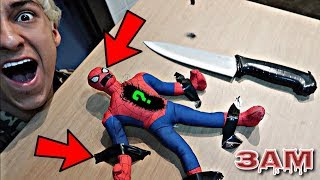 DO NOT CUT OPEN HAUNTED SPIDERMAN DOLL AT 3AM!! *OMG WHAT