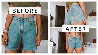 How To Thrift Flip Mom Jeans Into Instagram Baddie Shorts | Aja Dang