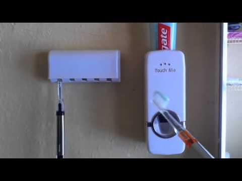 Touch Me Auto Toothpaste Dispenser Toothbrush Holder White