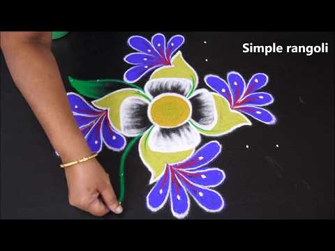 simple and easy color rangoli for friday   kolam for beginner with 8x8 dots   Muggulu
