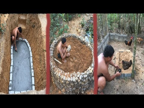 Primitive Life:Ancient Concrete-breed adopt fish and chicks!Next  months in the forest!
