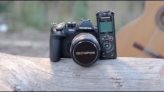 Olympus LS-P4 Audio Recorder - Connection With Cameras Tutorial