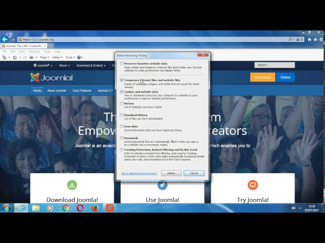 Clear your cache in Internet Explorer 11 (Windows)