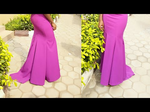 HOW TO CUT SIX PIECES PATTERN ON FABRIC FOR FULL FLOWY MERMAID SKIRT/DRESS