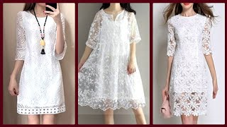 Top 40 Different Type Party Wear Pure White Lace Dress Prom Dress Midi Dress Evening White Dress