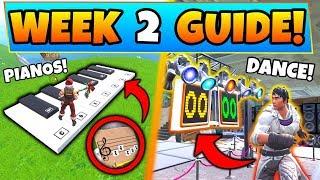 Fortnite WEEK 2 CHALLENGES GUIDE! - DANCE OFF, Sheet Music Piano, & Banner (Battle Royale Season 7)