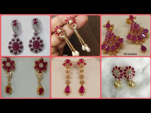 gorgeous Ruby and diamond gold earrings styles 2019