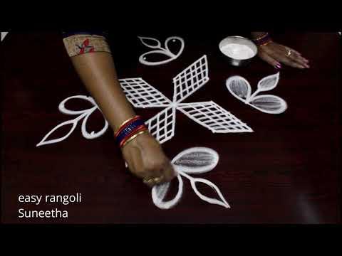 Latest designs with 7 dots    Easy rangoli kolam by Suneetha    Beginners muggulu