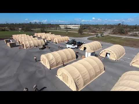 Military personnel are beginning the process of recovery at Tyndall Air Force Base in Florida after Hurricane Michael swept through the area, causing heavy damage. They are building temporary housing after the storm damaged many structures. (Oct. 17)