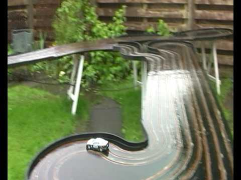 300 foot slot car track in wet
