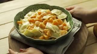 מתכון לרביולי גבינה ברוטב שמנת ובטטה